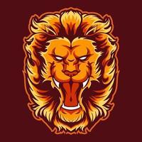 illustrazione vettoriale testa di leone in fiamme