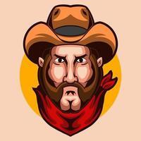 disegno dell'illustrazione di vettore della testa dell'uomo del cowboy isolato