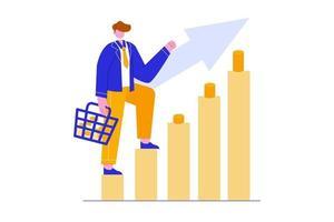 illustrazione vettoriale del concetto di squadra di crescita aziendale. banner di sfondo aziendale, sito Web, pagina di destinazione e pubblicità online.