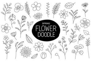 fiori di primavera doodle in stile disegnato a mano. elementi floreali e foglie con collezione di fiori primaverili. vettore