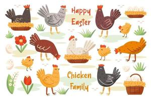 set di famiglia di pollo. pollo, gallina, gallo. animali domestici da fattoria, uccelli. elementi di buona pasqua. vettore