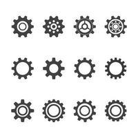 Progettazione dell'illustrazione dell'icona di vettore del modello di logo dell'ingranaggio