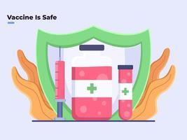 illustrazione piatta Il vaccino contro il coronavirus covid-19 è sicuro o sicuro da usare, la protezione del vaccino della medicina covid-19, il lavoro e il vaccino covid-19 altamente efficace e migliora il sistema immunitario.
