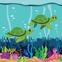 Illustrazione di tartarughe vettore