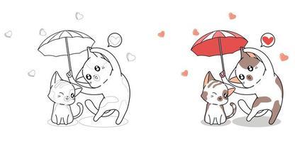 Coppia simpatico gatto con l'ombrello della pagina da colorare dei cartoni animati di amore vettore
