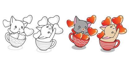 Coppia simpatico gatto in una tazza di caffè e cuori pagina da colorare dei cartoni animati vettore
