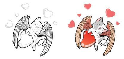 personaggio gatto cupido con cuori pagina da colorare dei cartoni animati vettore