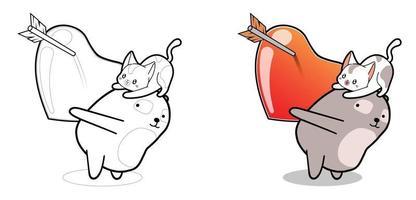 Pagina da colorare di cartoni animati kawaii panda e gatto con cuore grande vettore