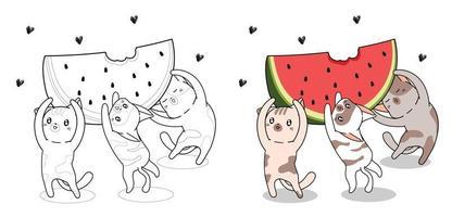 simpatici gatti stanno sollevando grande anguria da colorare vettore