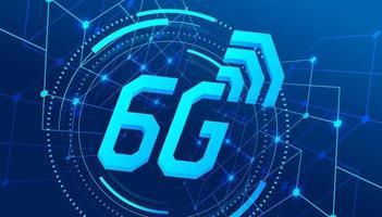 rete mobile globale ad alta velocità 6g, modello di banner di tecnologia di trasferimento dati moderno. vettore