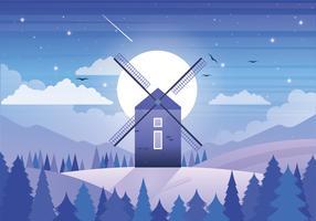 Illustrazione del mulino a vento di vettore
