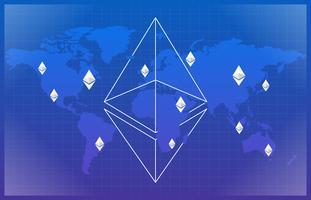 Illustrazione di valuta di Ethereum basata sul fondo della mappa di mondo
