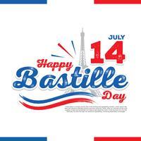 Vettore felice dell'illustrazione di giorno delle Bastille
