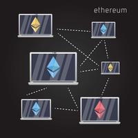 Sfondo della rete Ethereum vettore