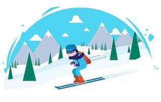 illustrazione di carattere vettoriale sciatore