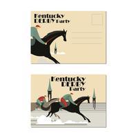 Cartolina Grande per il Kentucky Derby o evento a tema a cavallo vettore