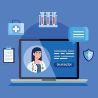 medico sul computer portatile, concetto di medicina online con icone mediche vettore