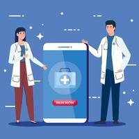 medici con smartphone, concetto di medicina online vettore