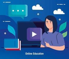 tecnologia di formazione online con donna e laptop vettore