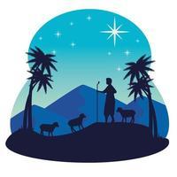 buon natale e presepe con pastore e pecore vettore