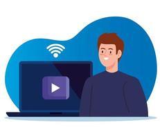 tecnologia di formazione online con uomo e laptop vettore