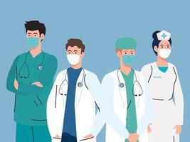 personale medico che indossa maschere facciali durante la pandemia di coronavirus vettore