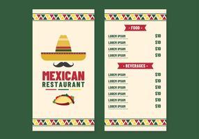 Vettore del menu del ristorante messicano