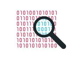 codice binario e icona dello zoom vettore