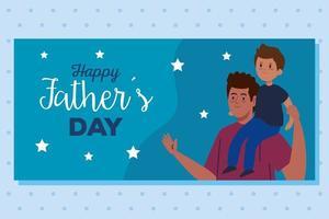 felice giorno di padri biglietto di auguri con papà che trasporta suo figlio vettore