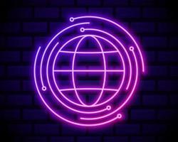 icona al neon del satellite terrestre vettore