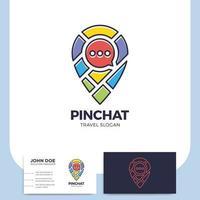perno di posizione con mappa e icona chat e biglietto da visita vettore