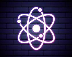 icona al neon dell'atomo vettore