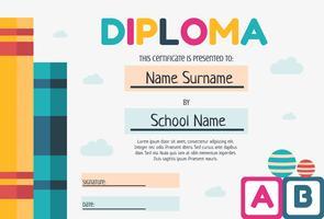 Modello di Diploma di scuola materna vettore