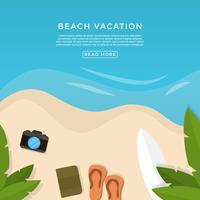 Illustrazione piana di vettore di vacanza della spiaggia