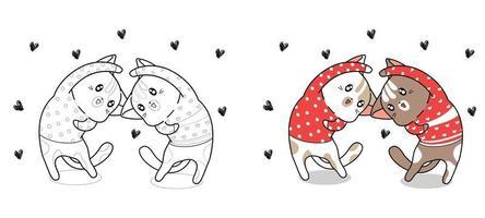 coppia di gatti agiscono con la pagina da colorare dei cartoni animati di cuore vettore