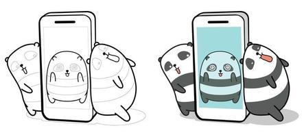 Panda all'interno di smartphone e amici pagina da colorare di cartoni animati per bambini vettore