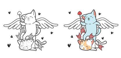 Pagina da colorare di cartoni animati gatto cupido vettore