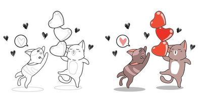 Gatti e cuori nella pagina da colorare dei cartoni animati di San Valentino per i bambini vettore