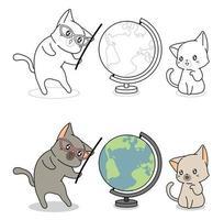 Pagina da colorare di cartoni animati di gatti e mondo vettore