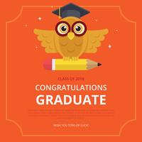Illustrazione di carta di laurea con gufo e cappello di laurea. vettore