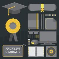 Saluti dell'illustrazione della carta di graduazione con la lettera del cappello e del diploma di graduazione. Cancelleria per diploma e attrezzature. vettore