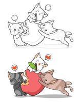 simpatici gatti che mangiano grande mela cartone animato da colorare pagina vettore