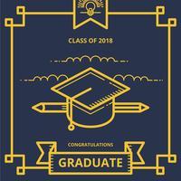 Saluti dell'illustrazione della carta di graduazione con la lettera del cappello e del diploma di graduazione vettore