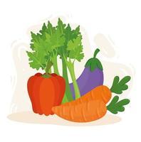 concetto di cibo sano, verdure fresche e sane vettore