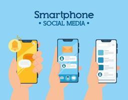 concetto di social media, mani che tengono smartphone con notifiche vettore