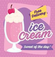 poster di gelato con messaggio di consegna gratuita vettore