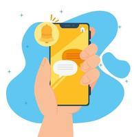 concetto di social media, mano che tiene uno smartphone con notifiche vettore