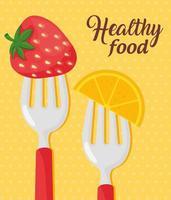 cibo sano con fragole con fette d'arancia vettore