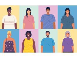 ritratti multietnici di persone, diversità e concetto di multiculturalismo vettore