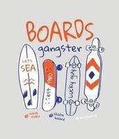 slogan di gangster a bordo con illustrazione di skateboard disegnata a mano del fumetto vettore